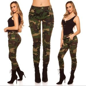 Denim - GREEN ARMY CAMOUFLAGE CARGO JEANS